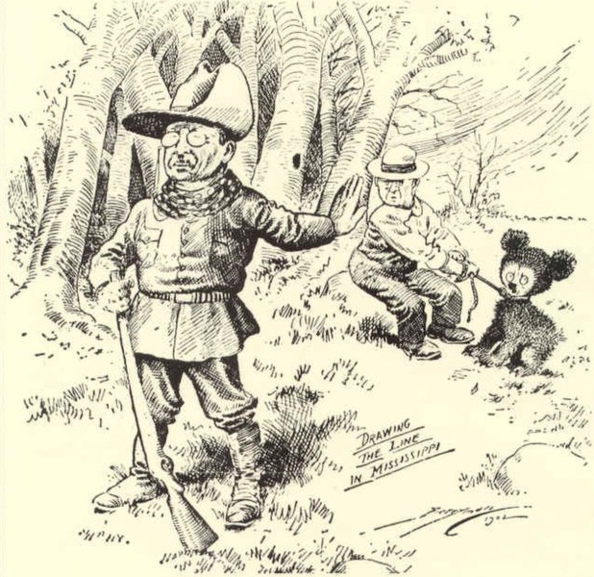"""This political cartoon by Clifford Berryman's depicts President Theodore Roosevelt's bear hunting trip to Mississippi. The cartoon gave the """"'Teddy"""" Bear it's name. It was published in the Washington Post in 1902."""