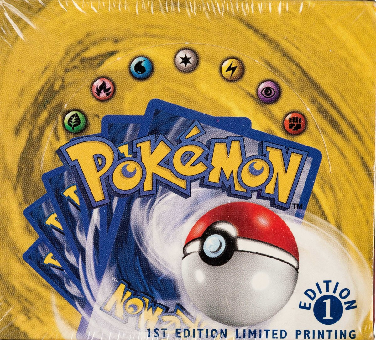 Pokémon First Edition Base Set sealed booster box, Wizards of the Coast, 1999.