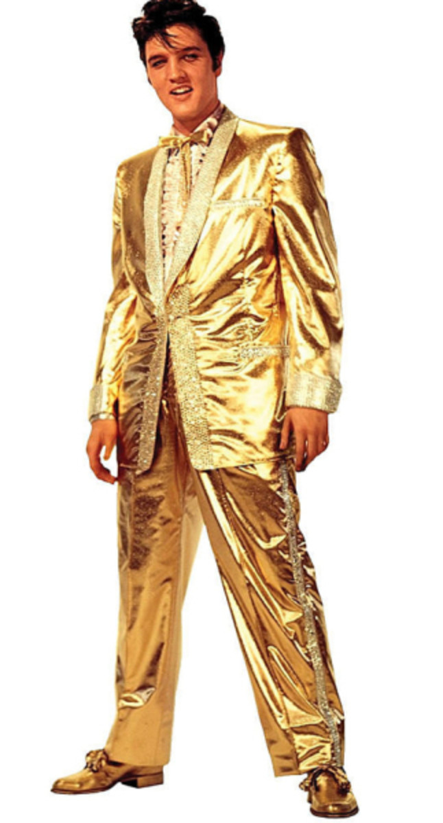 The famous flashy gold suit that Elvis was not a fan of wearing.