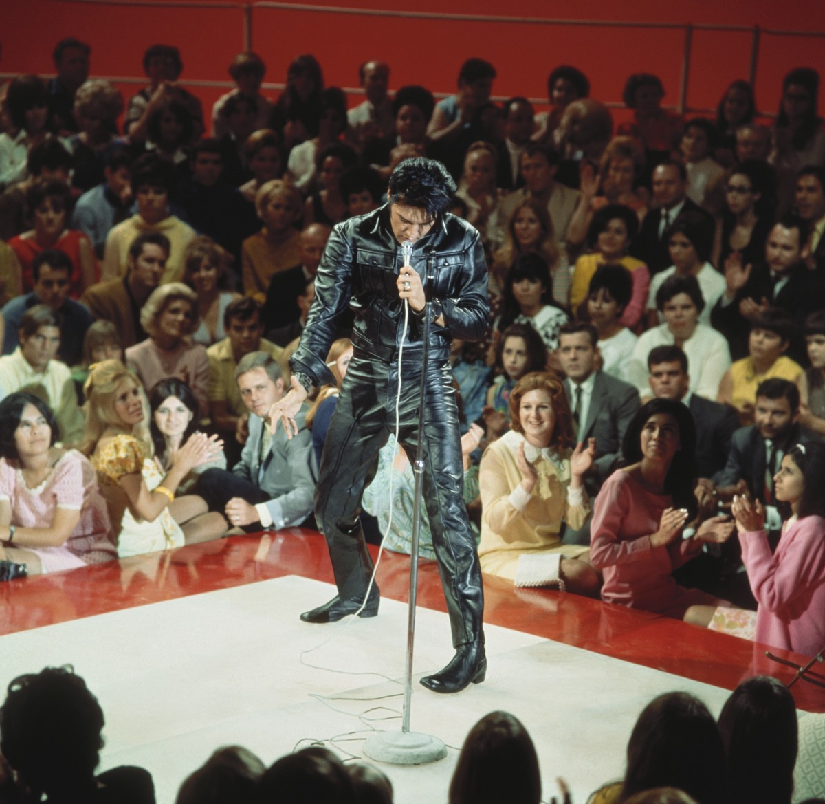 Elvis rocks head-to-toe black leather during his comeback TV special in 1968.
