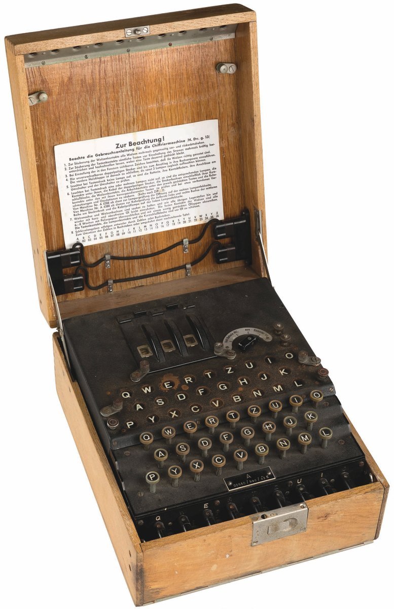 "Enigma encrypting machine, model M3, three cipher rotor design, used from 1934 until the end of the war, 28-1/5 pounds, 11"" x 13-1/4"" x 6"". Sold at Heritage Auctions for $106,250."