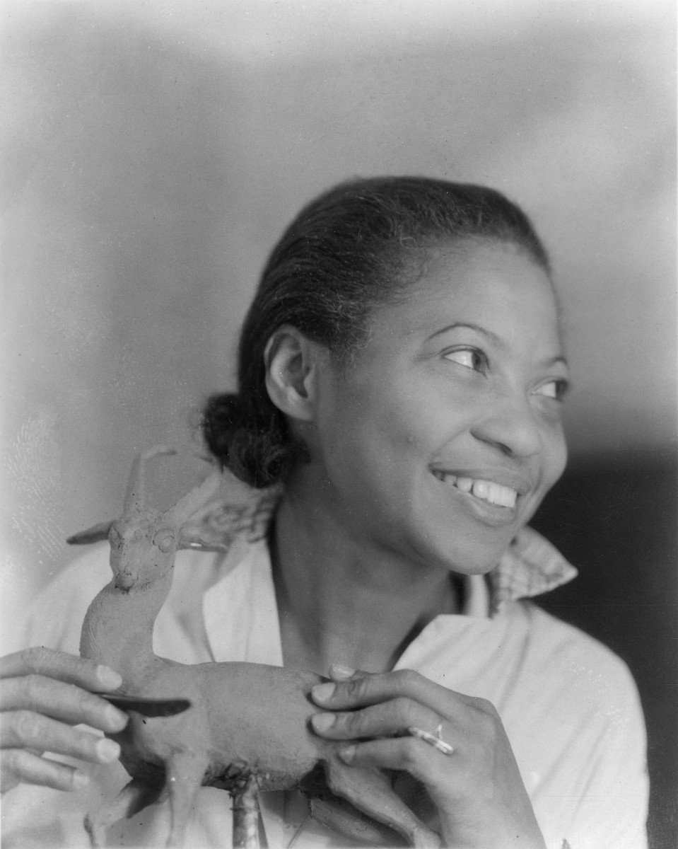 Augusta Savage works on a sculpture sometime between 1935-1947.