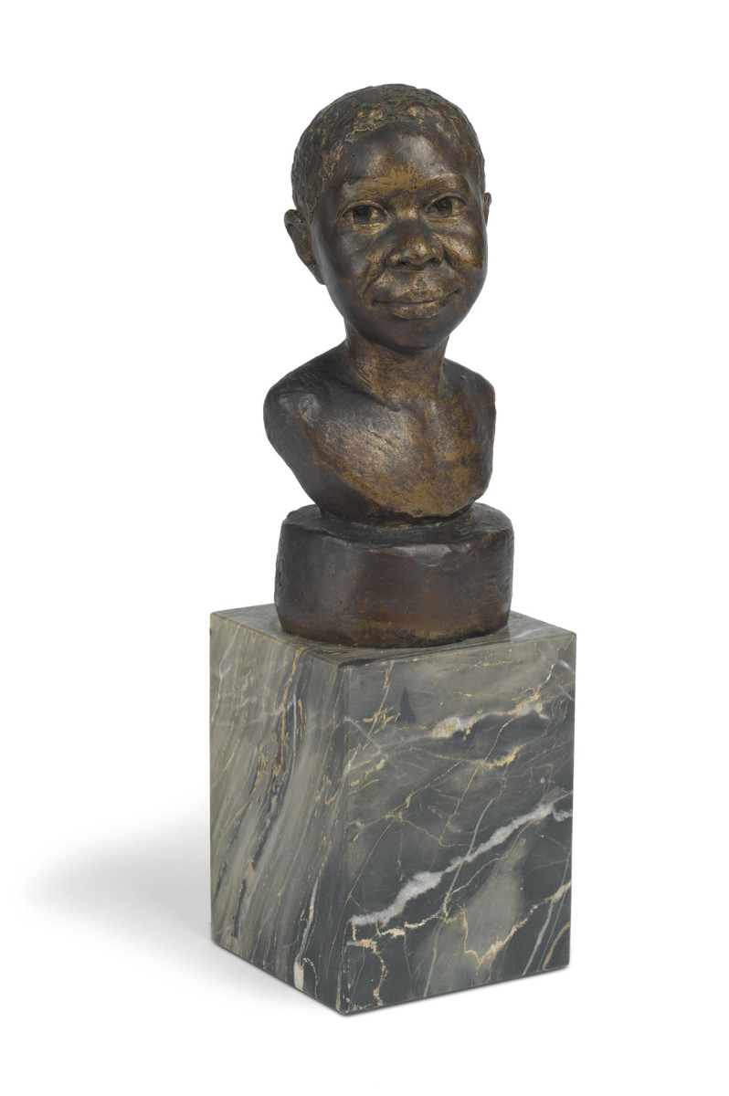 """Head of a Young Girl (Martiniquaise),"" painted plaster mounted on a marble base, circa 1925-35, approximately 6-3/4 "" h, 11-1/4"" h, including the base; $15,000."