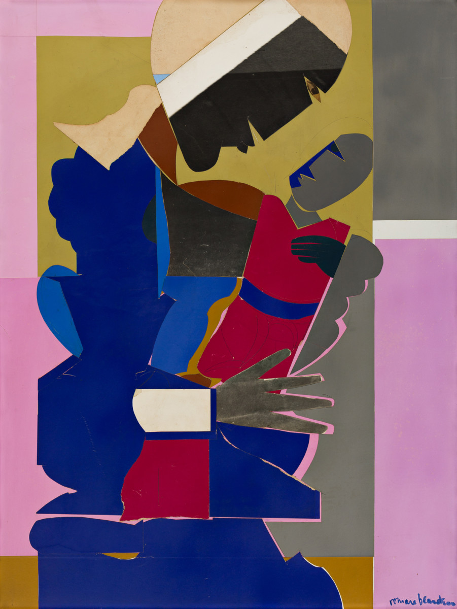 "Romare Bearden, ""Woman and Child,"" collage of various colored and printed papers and pencil on masonite board, 1968, 40"" x 30""; $173,000."