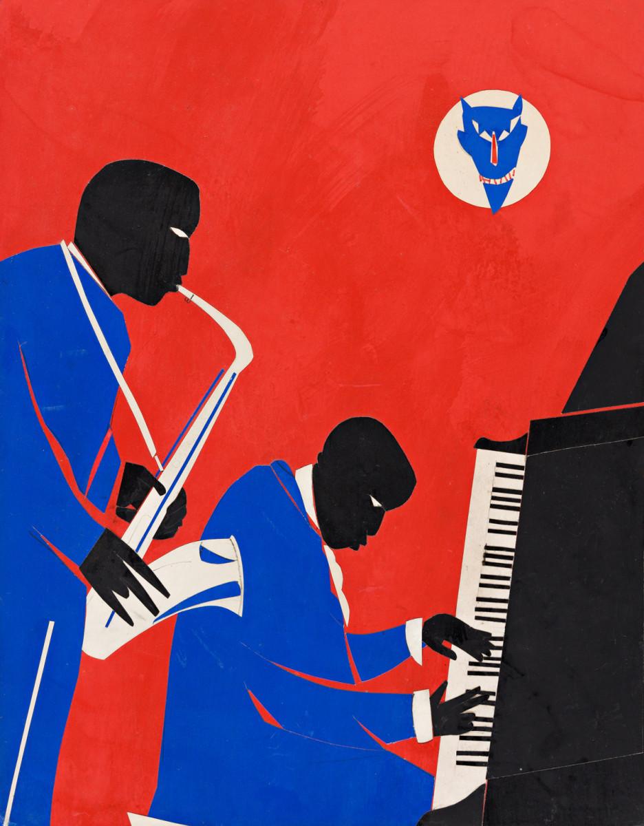 "Romare Bearden, ""The Last of the Blue Devils,"" collage on masonite board, 1979, 17-3/4"" x 13-3/4""; $100,000."