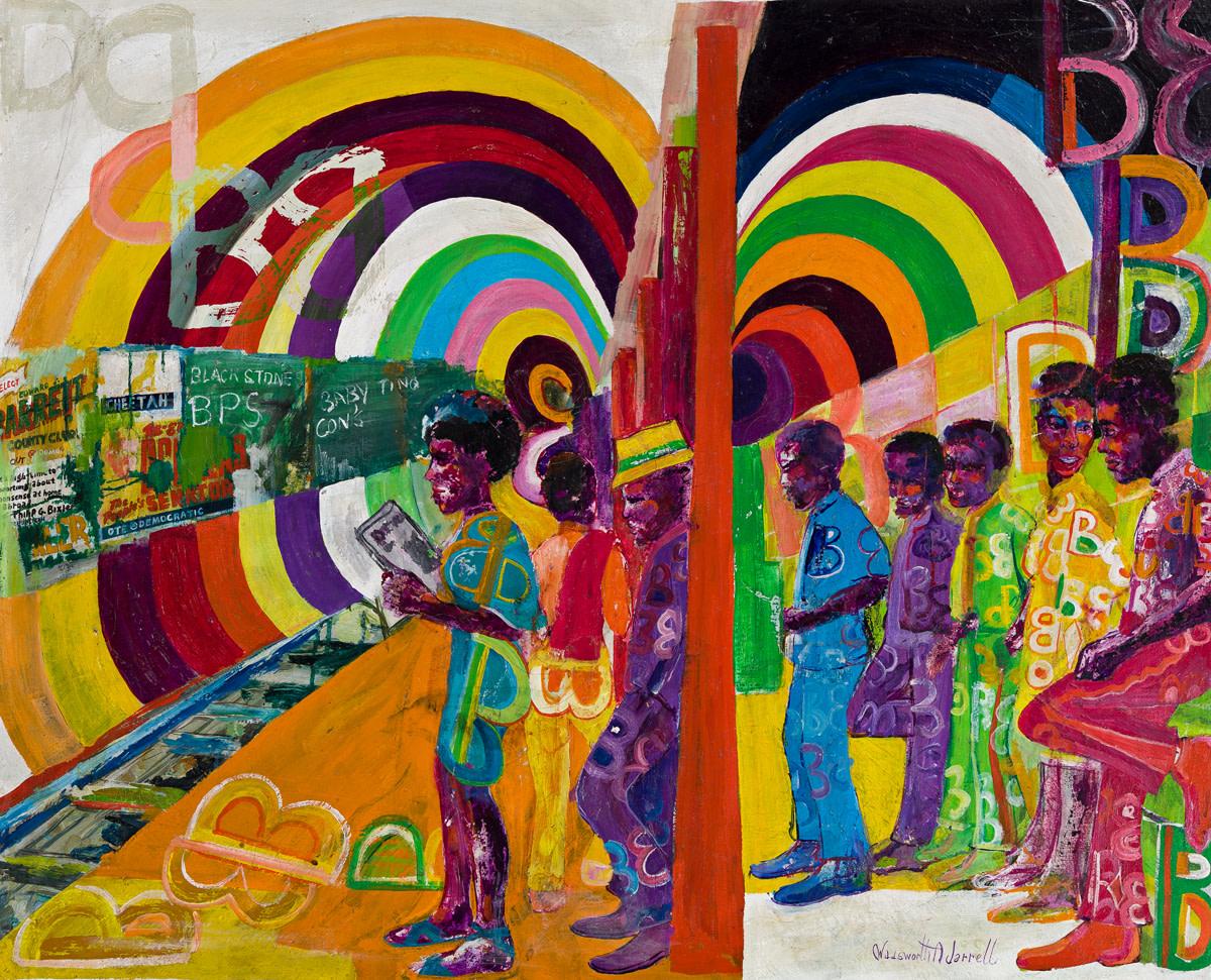 "Wadsworth Jarrell, ""Subway,"" acrylic on canvas, 1970, 31-1/2"" x 39""; $125,000."