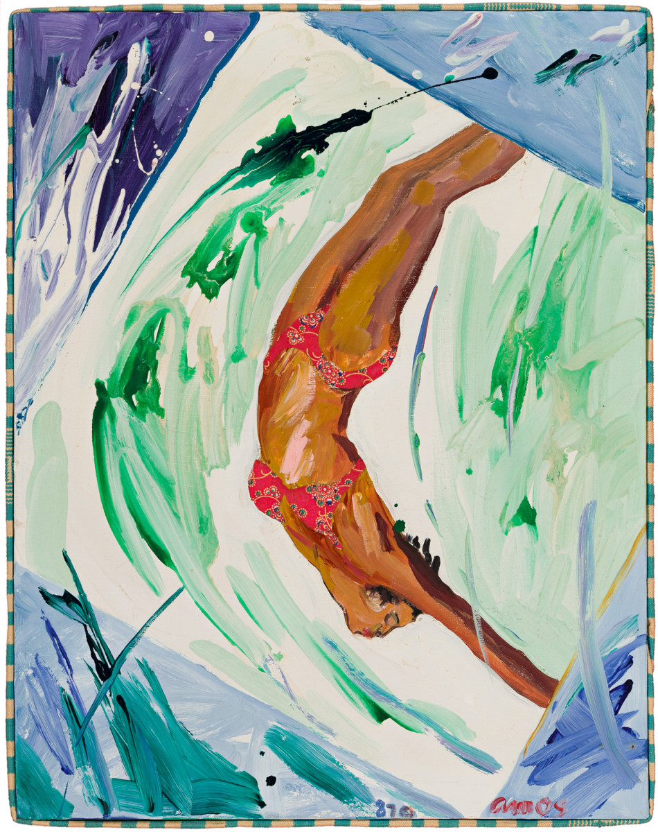 "Emma Amos, ""Water Baby,"" acrylic and fabric collage on linen canvas, 1987, 28"" x 22""; $100,000."