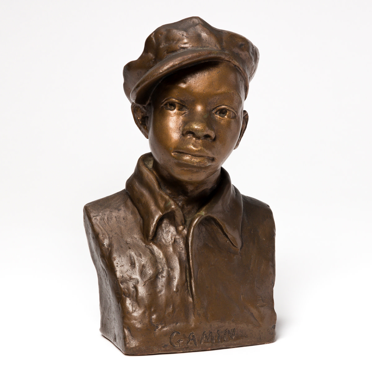 An iconic image of the Harlem Renaissance, this Gamin recently set a personal auction record for Savage at Swann Auction Galleries, after reaching $112,000. Plaster painted gold and circa 1929, it was acquired directly from Savage in 1939 by the seller's mother-in-law.