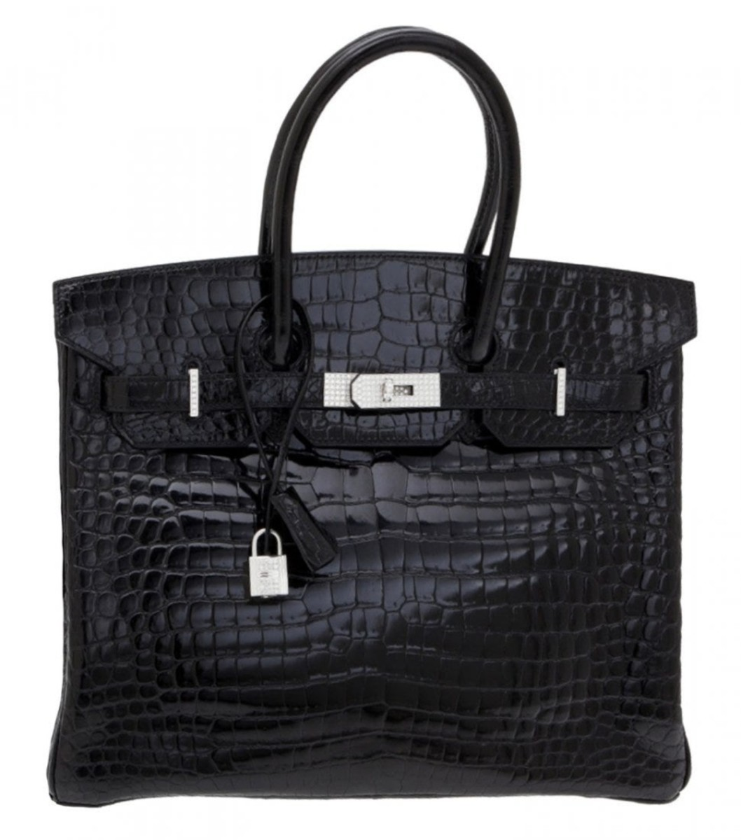 Hermès shiny black crocodile, diamond and white gold Birkin 35 handbag. Sold by Christie's through LiveAuctioneers for $287,500.