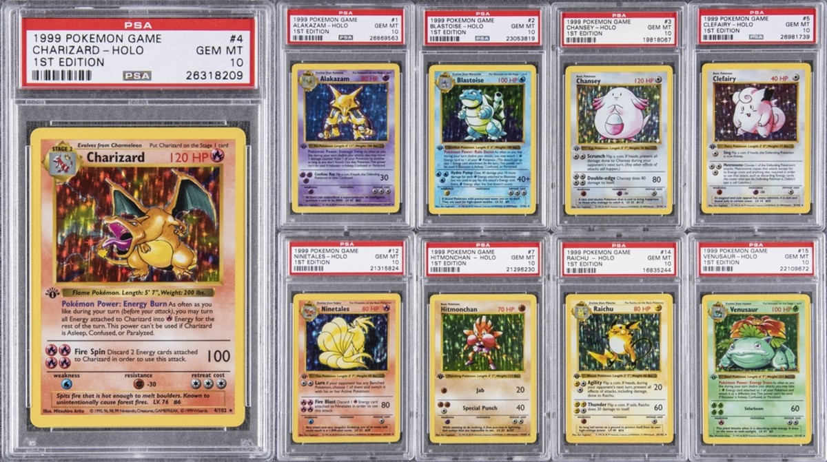 Some of the cards in the record-breaking 1999 Pokemon 1st Edition PSA GEM MT 10 set of 103, featuring #4 Charizard.