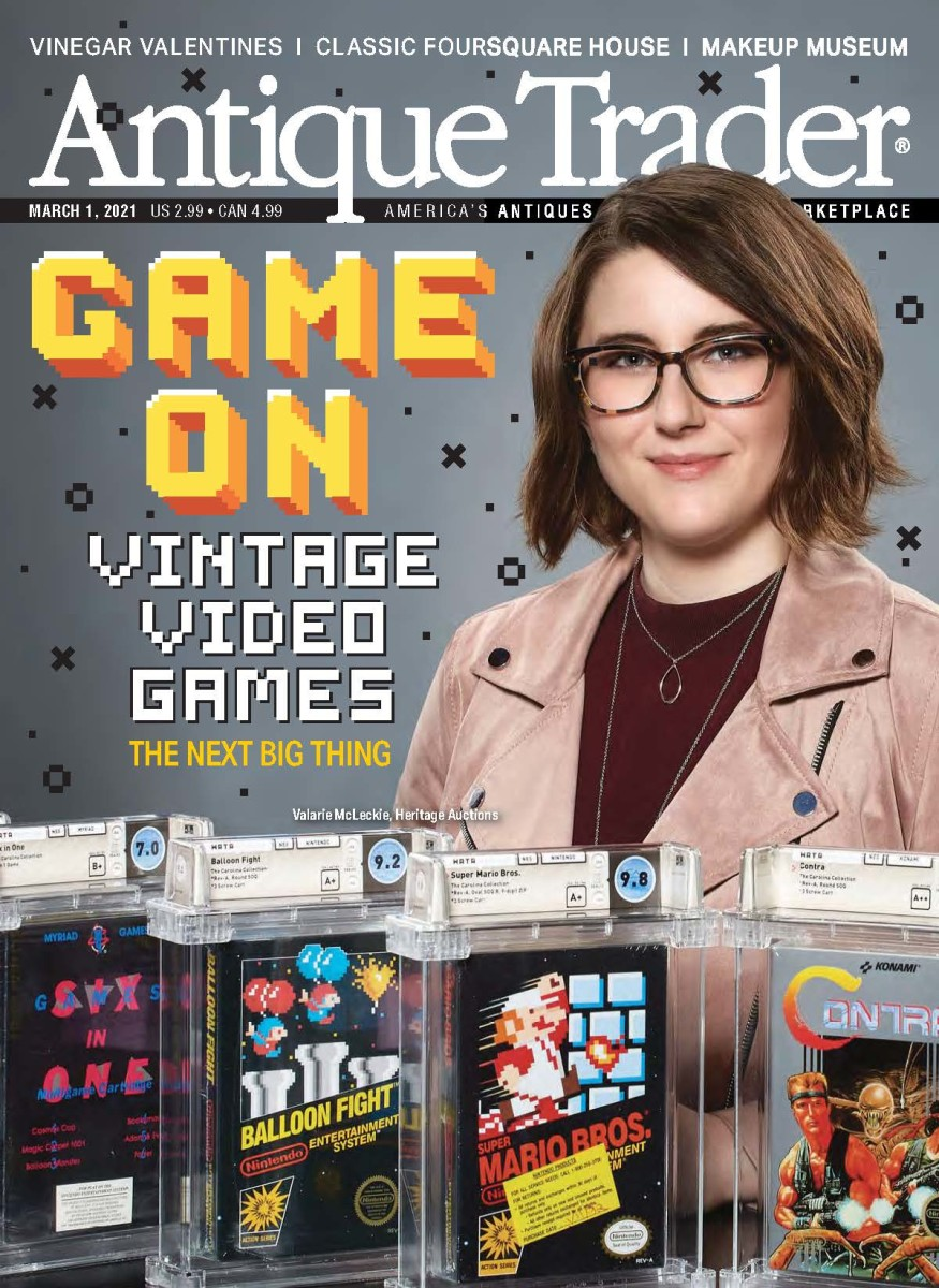 Download a free issue of Antique Trader featuring this cover story on Vintage Video Games and Valarie McLeckie.