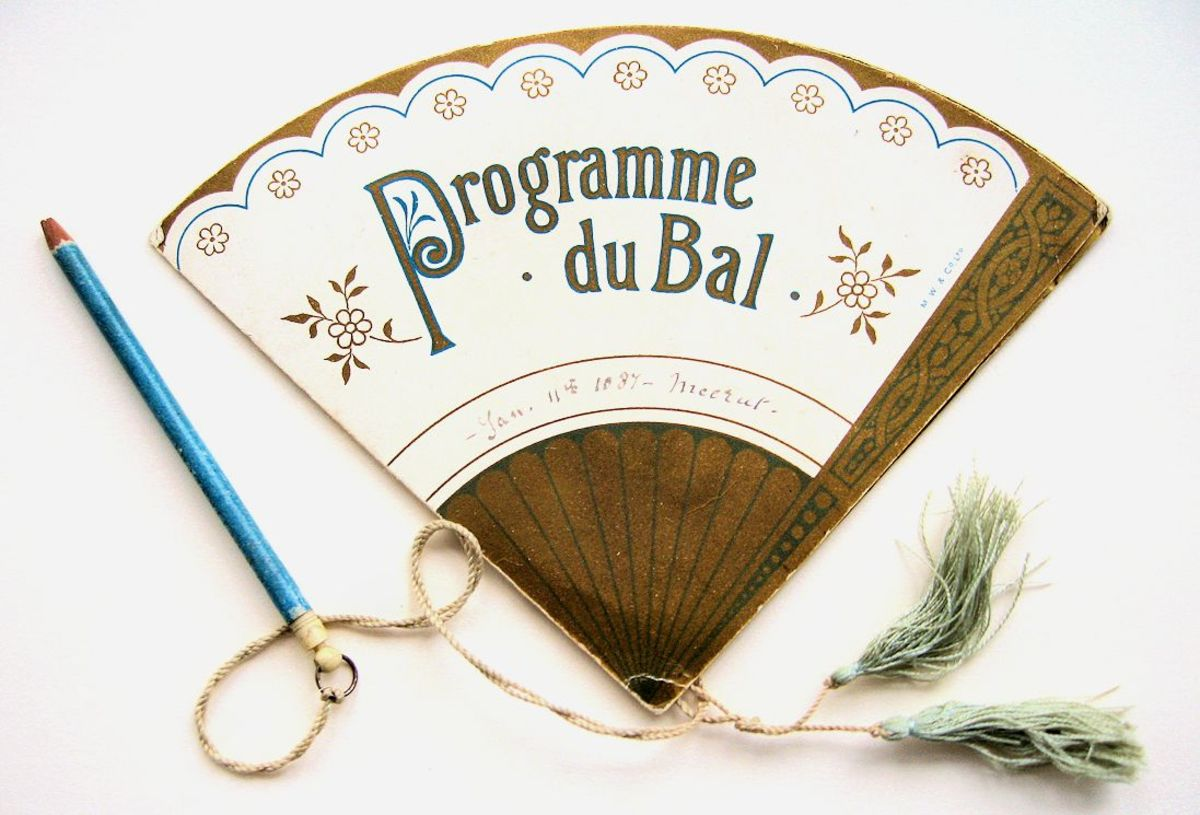 Programme du Bal engagements card for January 11, 1887,  published by M W & Co Ltd.  Inside this dance card, which opens out in the shape of a fan, as shown below. After the event, the card was kept as a souvenir of the evening,  perhaps finding a place in the lady's drawing-room album.