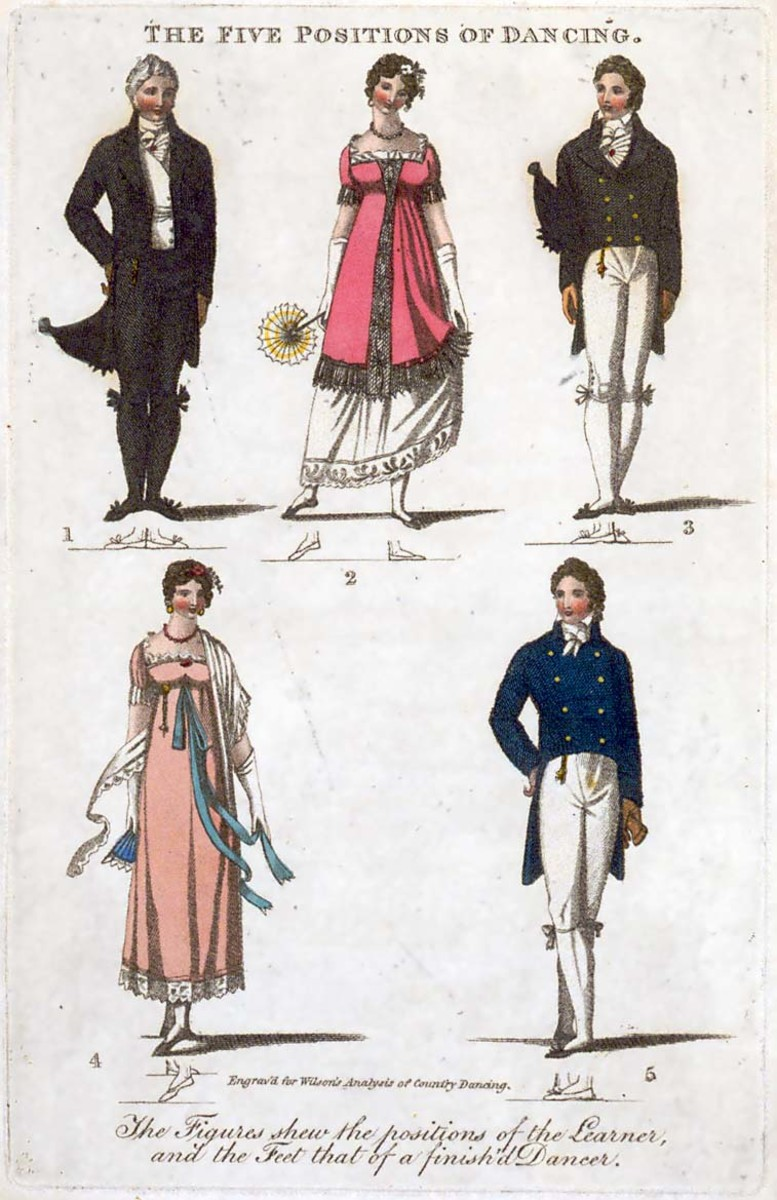 """""""The Five Positions of Dancing"""" from Thomas Wilson's Analysis of Country Dancing, 1811, wherein all the figures used in that polite amusement are rendered familiar by engraved lines. The colored illustrations of dancers show foot positions of a learner, while the line drawings below each dancer show the positions of a """"finish'd dancer."""""""
