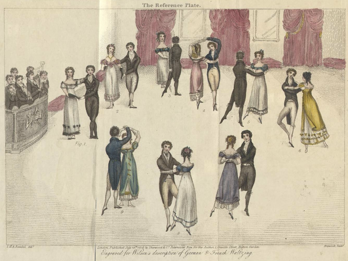 The steps of Regency waltzing including the Four March Steps, the Slow Waltz, the Sauteuse Waltz, the Jetté Waltz and German Waltzing, 1816.