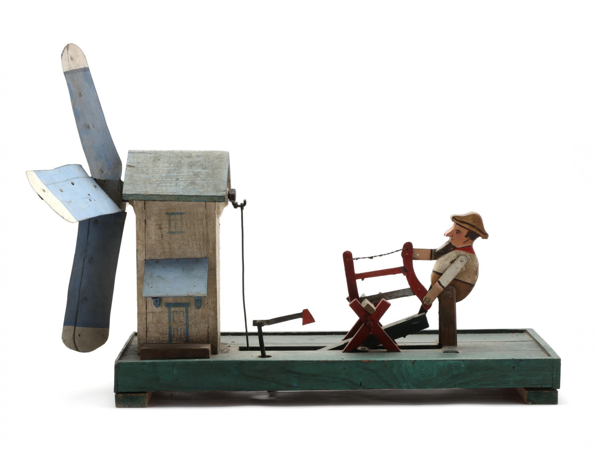 "Folk art was another top trend with  age groups 40-60 and 60-80. Folk art whirligig of a lumberjack, mid-20th century, painted wood and metal of a man sawing wood and chopping axe with windmill,  20"" x 28"" x 18; $350."