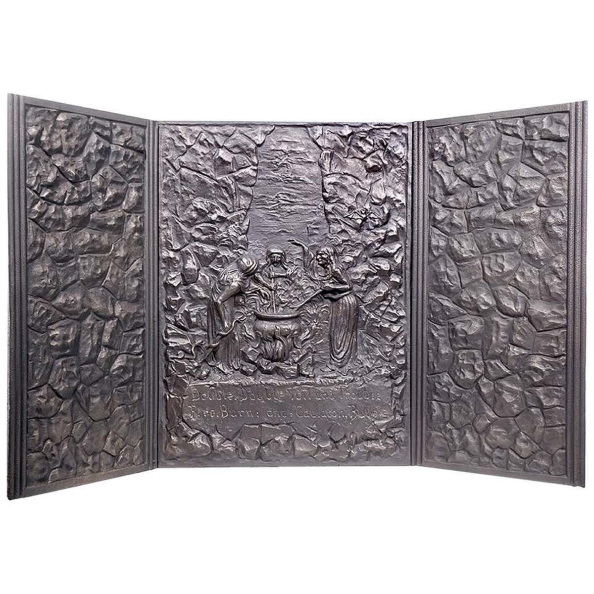 """This Shakespeare-inspired stove plate set  is rare and highly sought after. Manufactured by the  Abram Cox Stove Company of Philadelphia and Chicago in the 1890s,  it features the three witches from """"Macbeth"""" with the verse,  """"Double, double, toil and trouble, fire burn and cauldron bubble"""";  29-1/2"""" x 51-1/2""""; $850."""