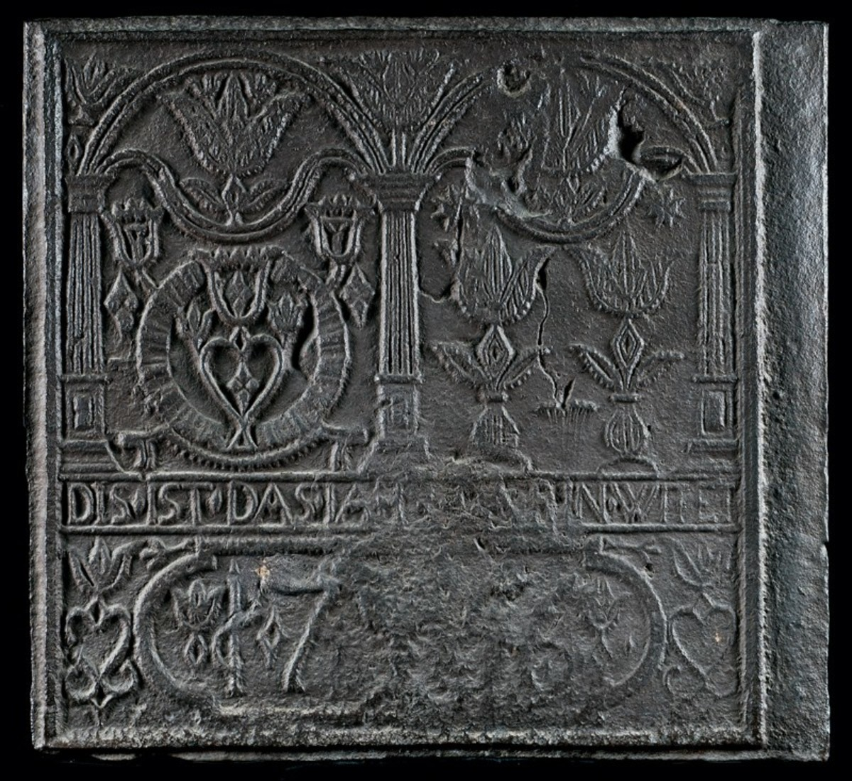 """Side plate from a jamb stove,  probably Durham Furnace, Bucks County, Pennsylvania, dated 1756; 26"""" x 28""""."""
