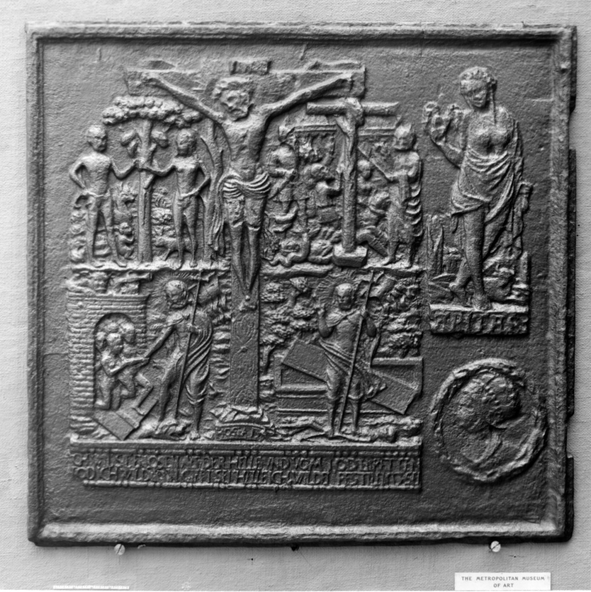 """A biblical-themed side plate from a jamb stove, probably Durham Furnace, Bucks County, Pennsylvania, dated 1756; 26"""" x 28""""."""