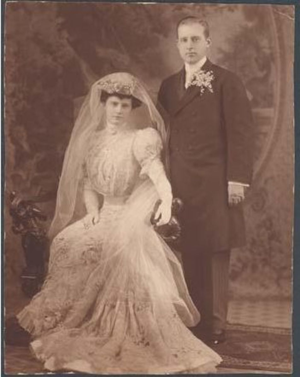 Marjorie and Edward pose for their wedding portrait.