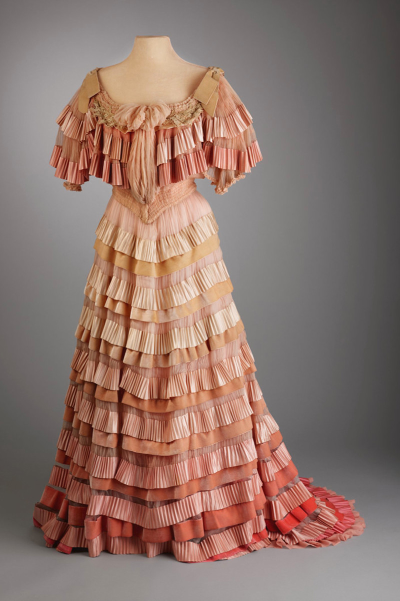 Post bought this frothy pink graduation gown of silk lawn, silk ribbon at Bergdorf Goodman in 1904.