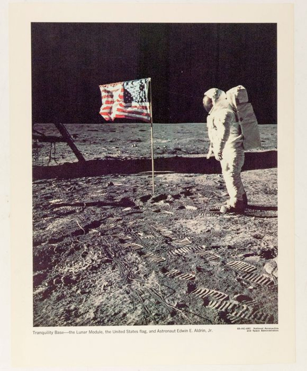 Among the ephemera offered will be photographs, like this one of Astronaut Buzz Aldrin on the moon.