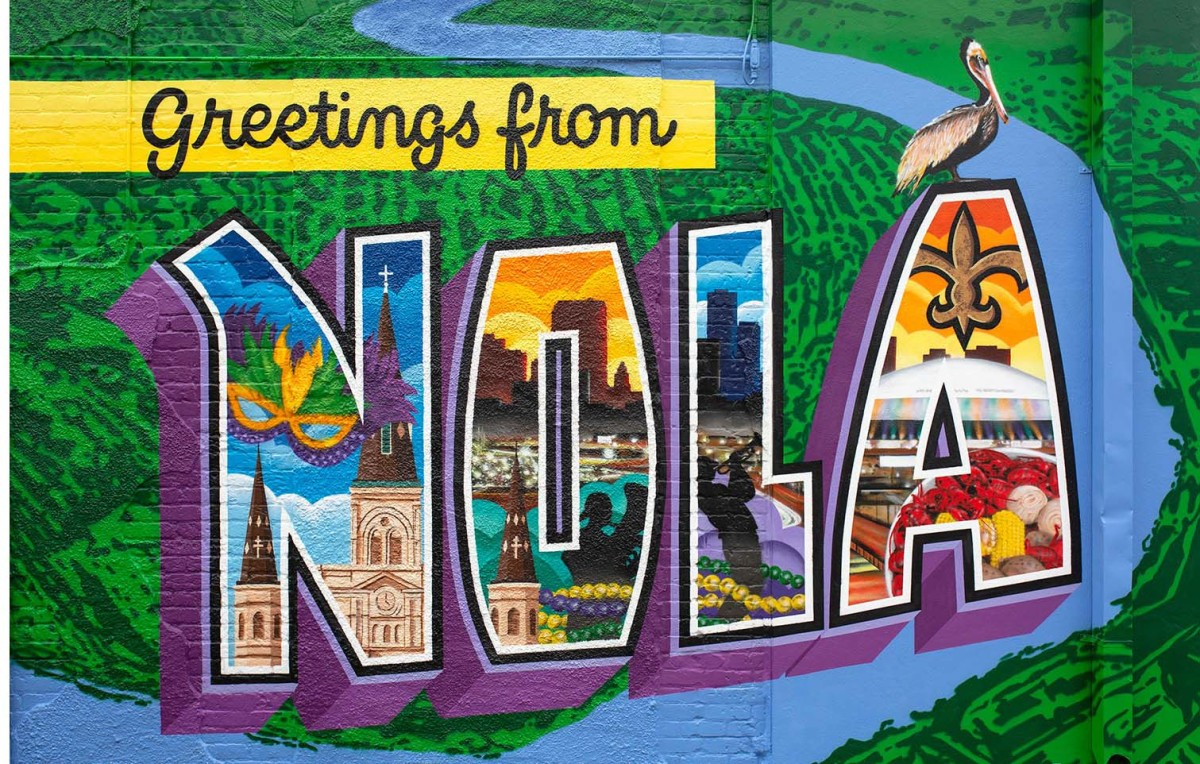 A mural captures the vibrant colors of The Big Easy.