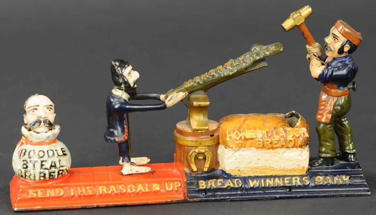 """Bread Winners mechanical bank by J&E Stevens Co, $85,000. This bank has an intense depositing action: the coin is placed in the end of the rascals club and a button is pressed at the rear of a figure so the laborer will strike down the monopoly; this sends the rascals up as the coin is deposited into """"Honest Labor Bread."""""""