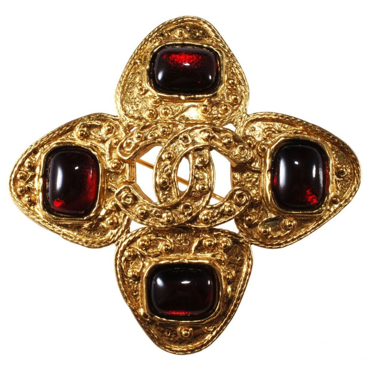 Chanel brooch with Gripoix glass cabochons, 1990s.