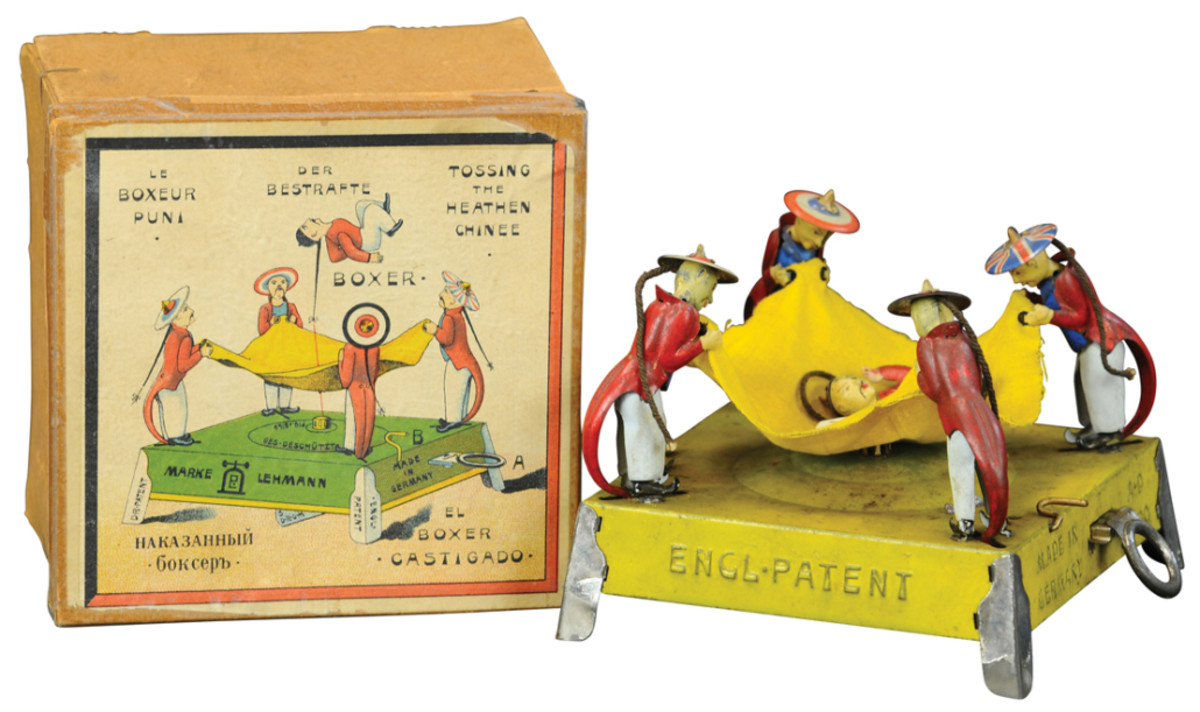 A Boxer Rebellion with original box by German company Lehmann, $32,000. This is one of the rarest of Lehmann toys and is considered by many to be the most desirable. The toy was inspired by the Boxer secret society during the Chinese rebellion of the 1900s.