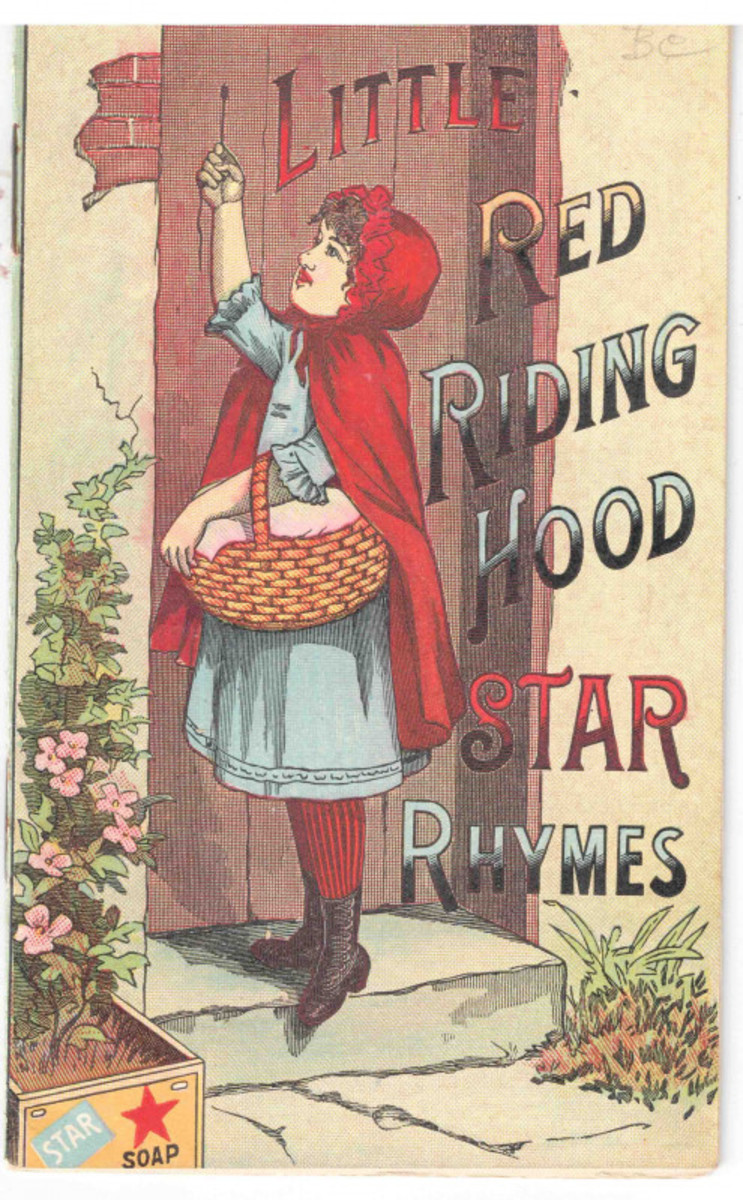 An advertising booklet for Star Soap, featuring Little Red Riding Hood and other classic nursery rhymes incorporating Star Soap. Schultz and Co of Ohio, circa 1890s.