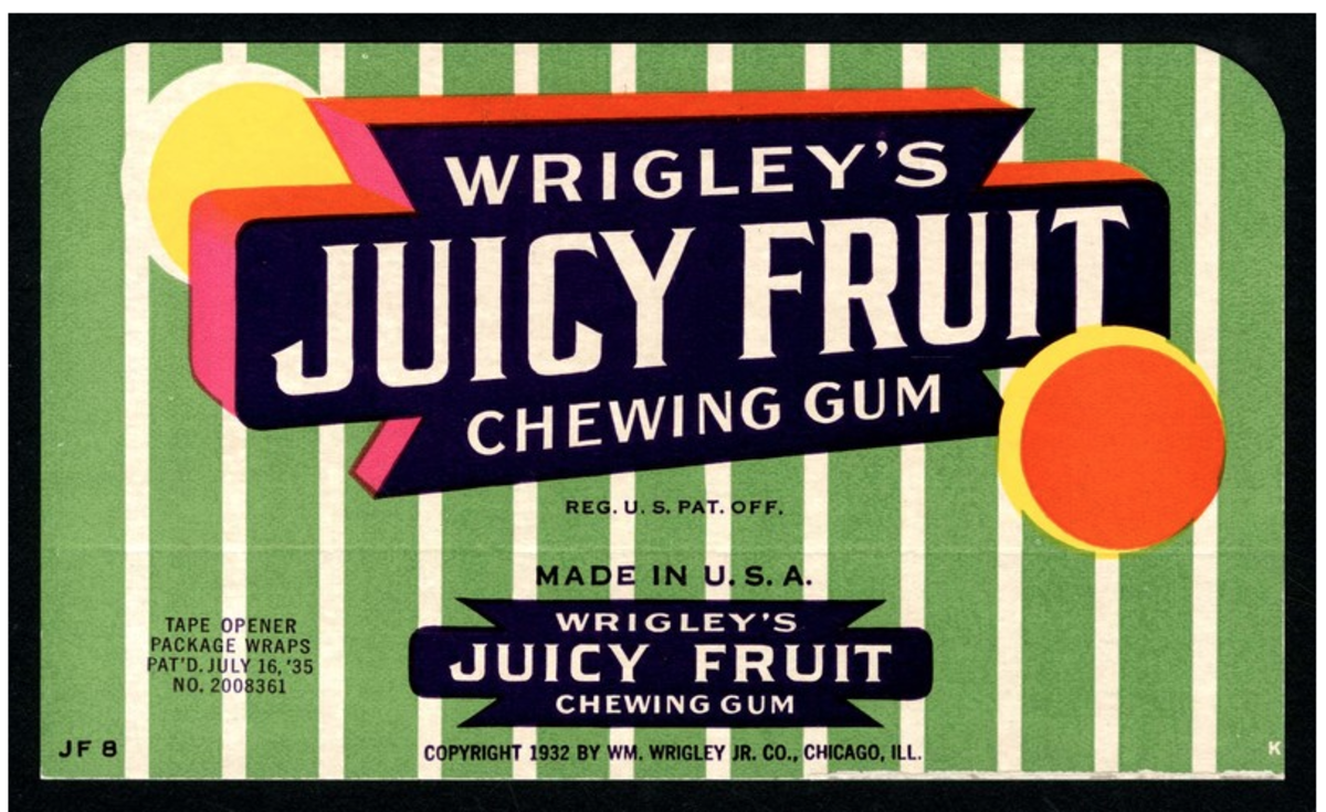 1932 Juicy Fruit Box Fly for US Market