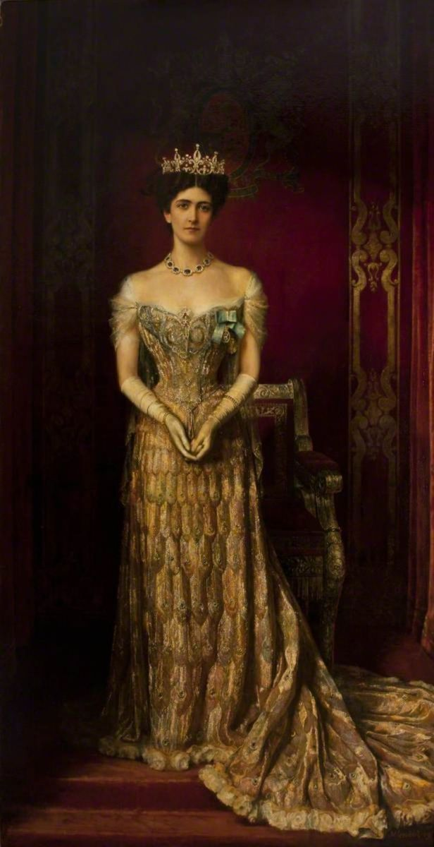 William Logsdail's oil painting of Lady Curzon in the peacock dress, 1909.