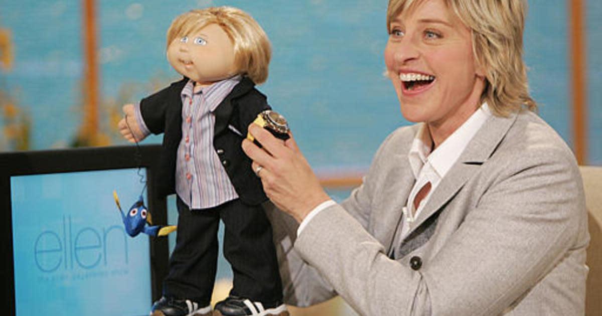 Ellen DeGeneres with Cabbage Patch Kid.