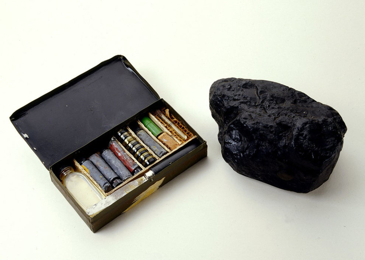 This lump of coal was created by the United States OSS during World War II. Within its hollow center was an explosive, and a camouflage kit was also provided to paint the lump in the exact color of the local coal. If unsuspecting enemy personnel were to toss it into a fire, the coal would detonate.