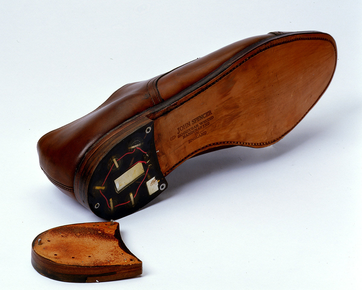 This shoe, stolen from a US diplomat by the Romanian  Secret Service, was outfitted with a hidden microphone and transmitter, which allowed KGB agents to record and monitor top-secret conversations.
