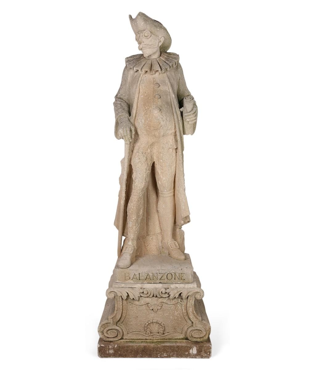 Italian limestone Commedia dell Arte figure