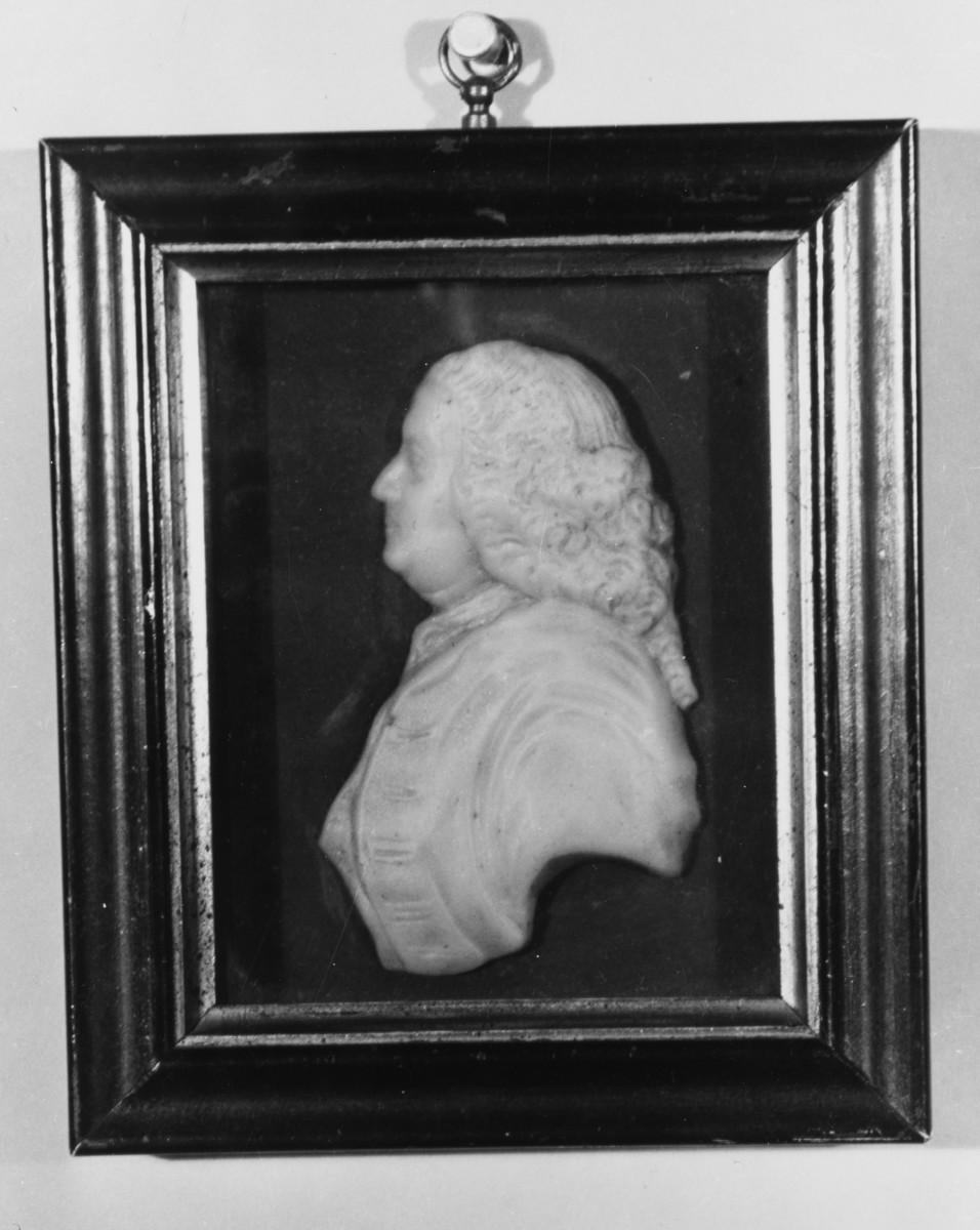 Wright's wax profile bust of Benjamin Franklin, circa 1775.