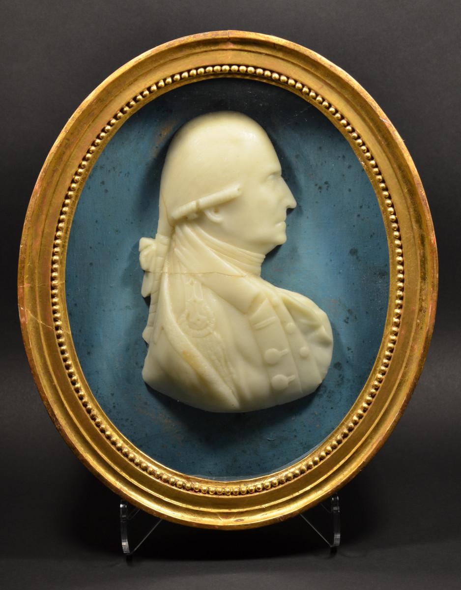 Framed wax bust of Washington, circa 1864.