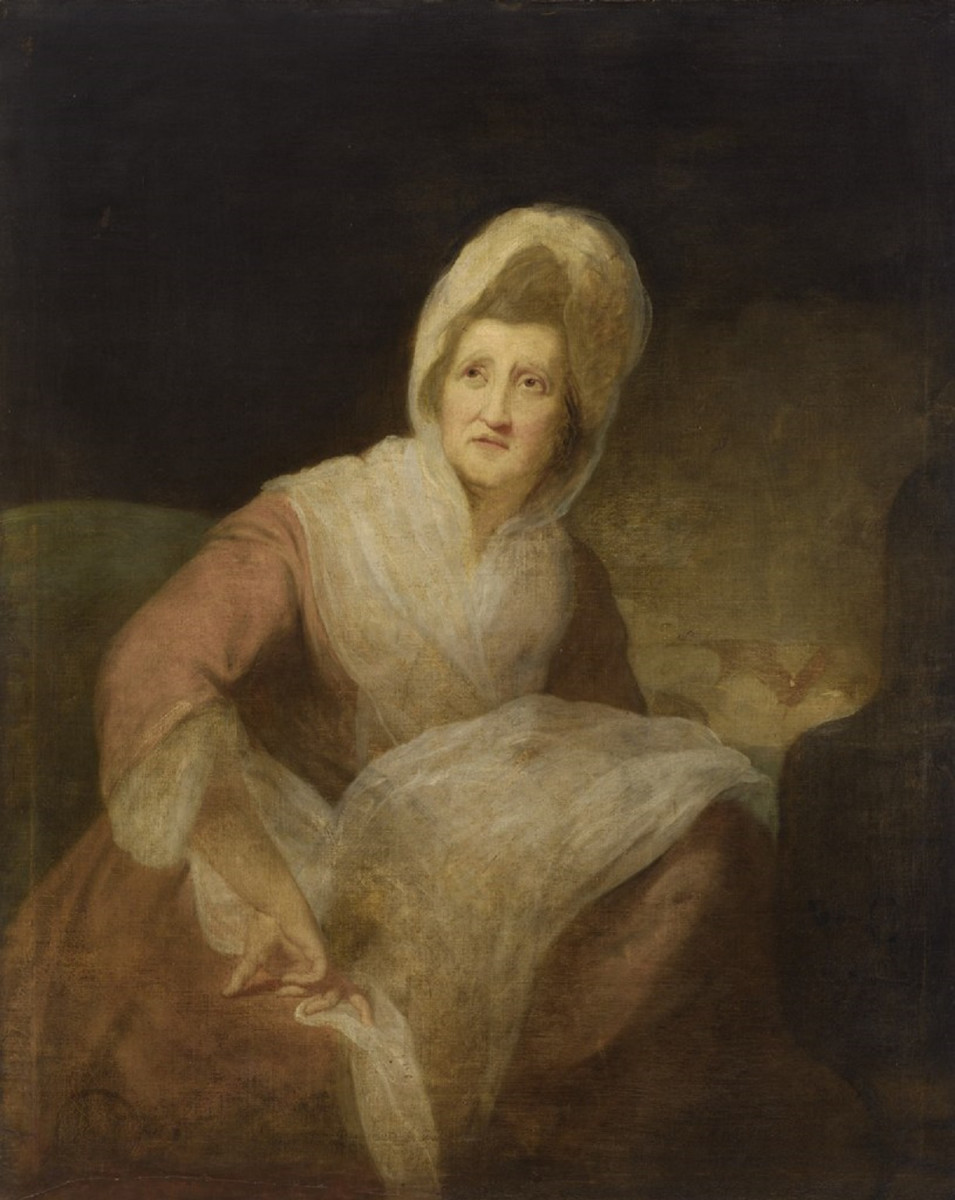 Oil painting of Patience Lovell Wright by Robert Edge Pine, 1782.