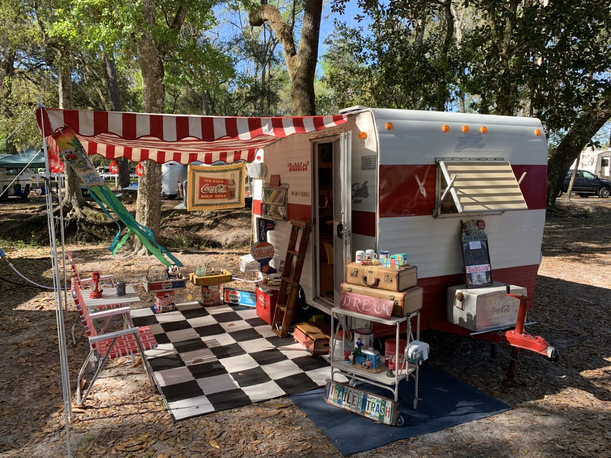Rick and Bonnie Cook of Pembroke Pines, Florida, take their restored 1969 Shasta Compact travel trailer named 'Bubbles' to vintage trailer rallies throughout the Southeast.