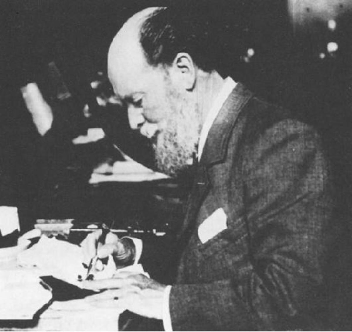 Renowned Russian jeweler Peter Carl Fabergé at work, circa 1900.