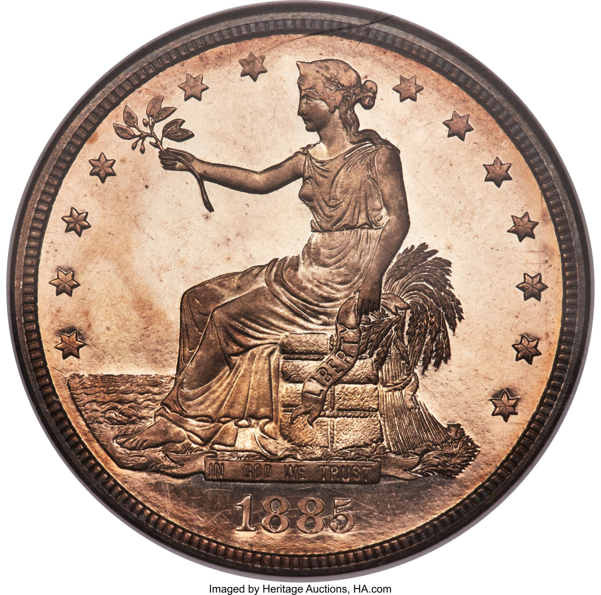 The most valuable U.S. rare coin sold in 2019 was a proof 1885 silver Trade dollar, graded NGC PR66, that sold for a record $3.96 million by Heritage Auctions. Heritage sold a total of $181.3 million of U.S. rare coins at auctions last year. The reverse of this coin is shown below.