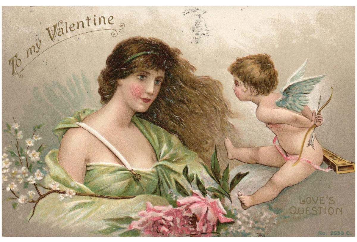 Often the same price or even less than a Hallmark card, vintage Valentine cards and postcards offer a creativity and beautiful artistry not found with modern cards. This fantastic Valentine postcard from 1912 features a beautiful woman face to face with Cupid holding his bow and arrow behind him; $10.