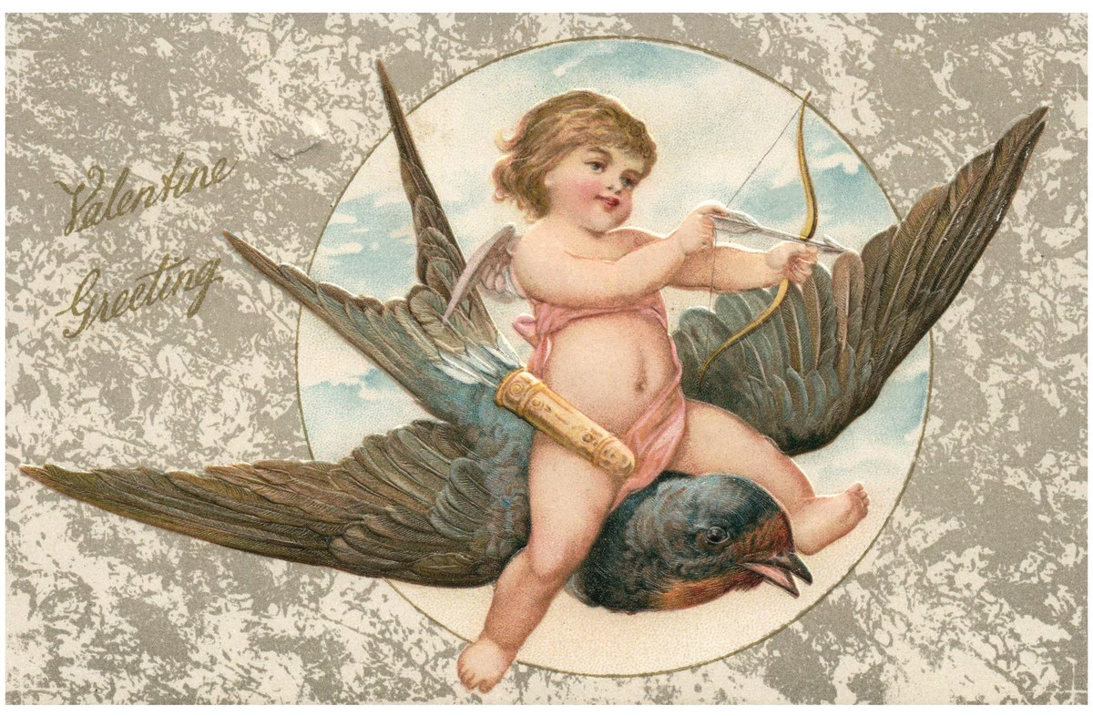 This amazing vintage Valentine postcard captures Cupid in action about to shoot his arrow while riding a bird. It's also a nice embossed John Winsch card, with a 1908 postmark with writing on the back. Winsch's postcards are highly collectible and valued; $10.