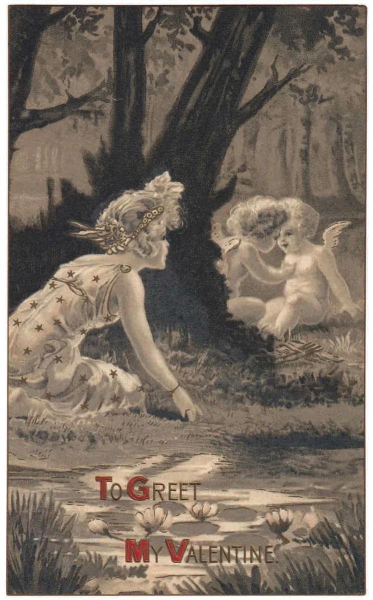 "A wonderful Frances Brundage postcard published by Gabriel and featuring a woman spying on two Cupids in a forest. The amber/black and white tones make this a beautiful card, with a red border and some gold details highlighted. It is marked ""Idyls Series Artistic Postcard 1401 and has writing but no postmark. Brundage was one of the leading postcard artists of her time; $15."