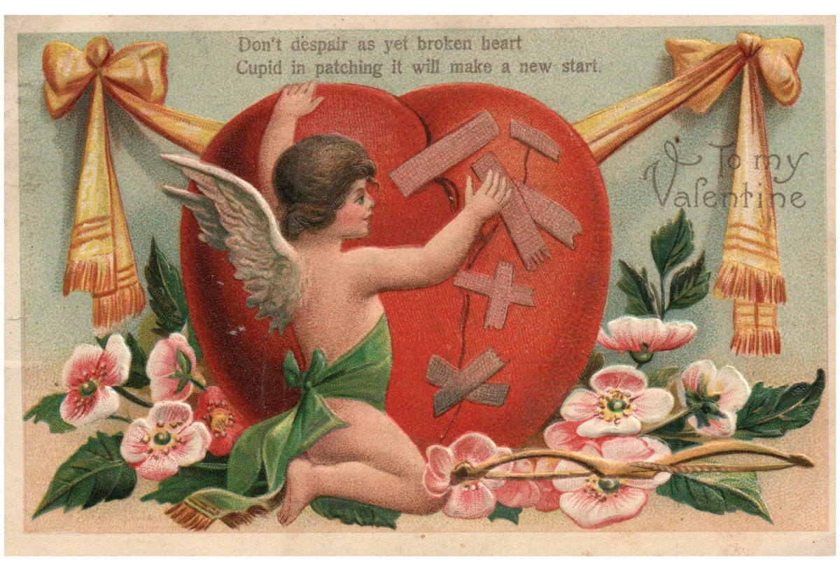 Not everyone's heart is full of love on Valentine's Day. Some hearts are unfortunately feeling broken, and here is Cupid fixing one of them on an embossed postcard from 1908. A lovely postcard with a timeless message of mending a broken heart; $8.