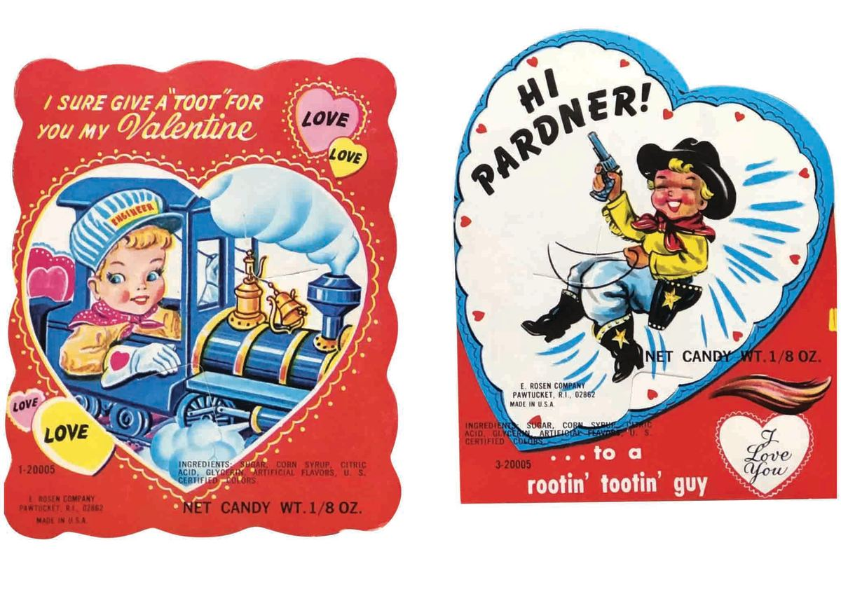 Two vintage Valentine Candy Cards made by E. Rosen Company in Pawtucket, Rhode Island. These unused Cards have slits to put a sucker or some kind of candy in it. Cute little boys, one is a Cowboy and a Train Engineer. They are in excellent condition and the price is for both cards. $20.