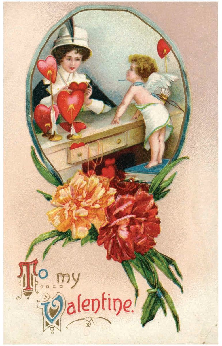 A wonderful vintage Valentine postcard by Ellen Clapsaddle featuring a woman being approached by Cupid as she appears to be shopping for a heart. Carnations adorn the bottom. This embossed card was published by Garre and is postmarked 1911; $7.