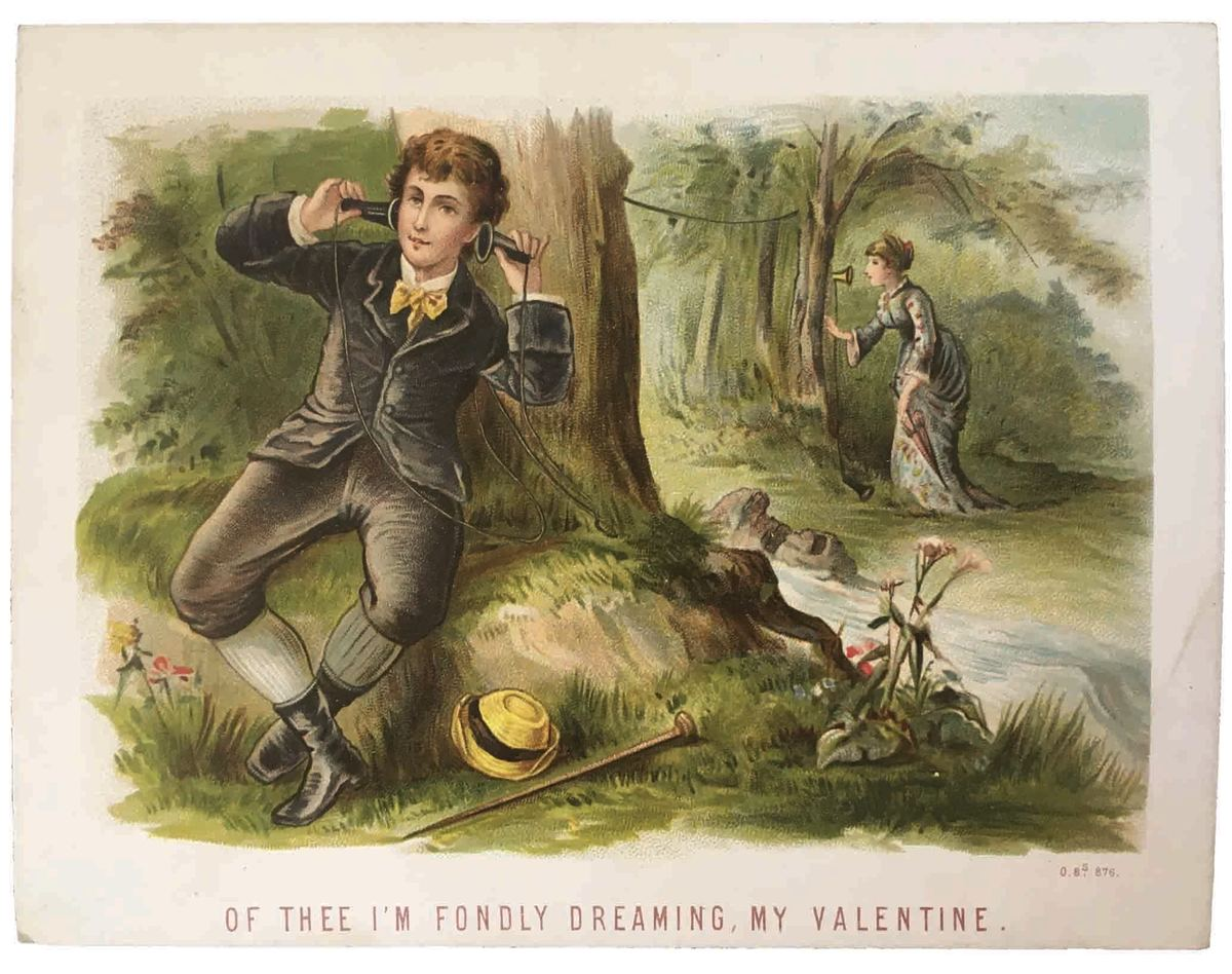This Victorian-era chromolithograph Valentine card features two sweethearts on the telephone out in the forest, separated by a stream; $19.