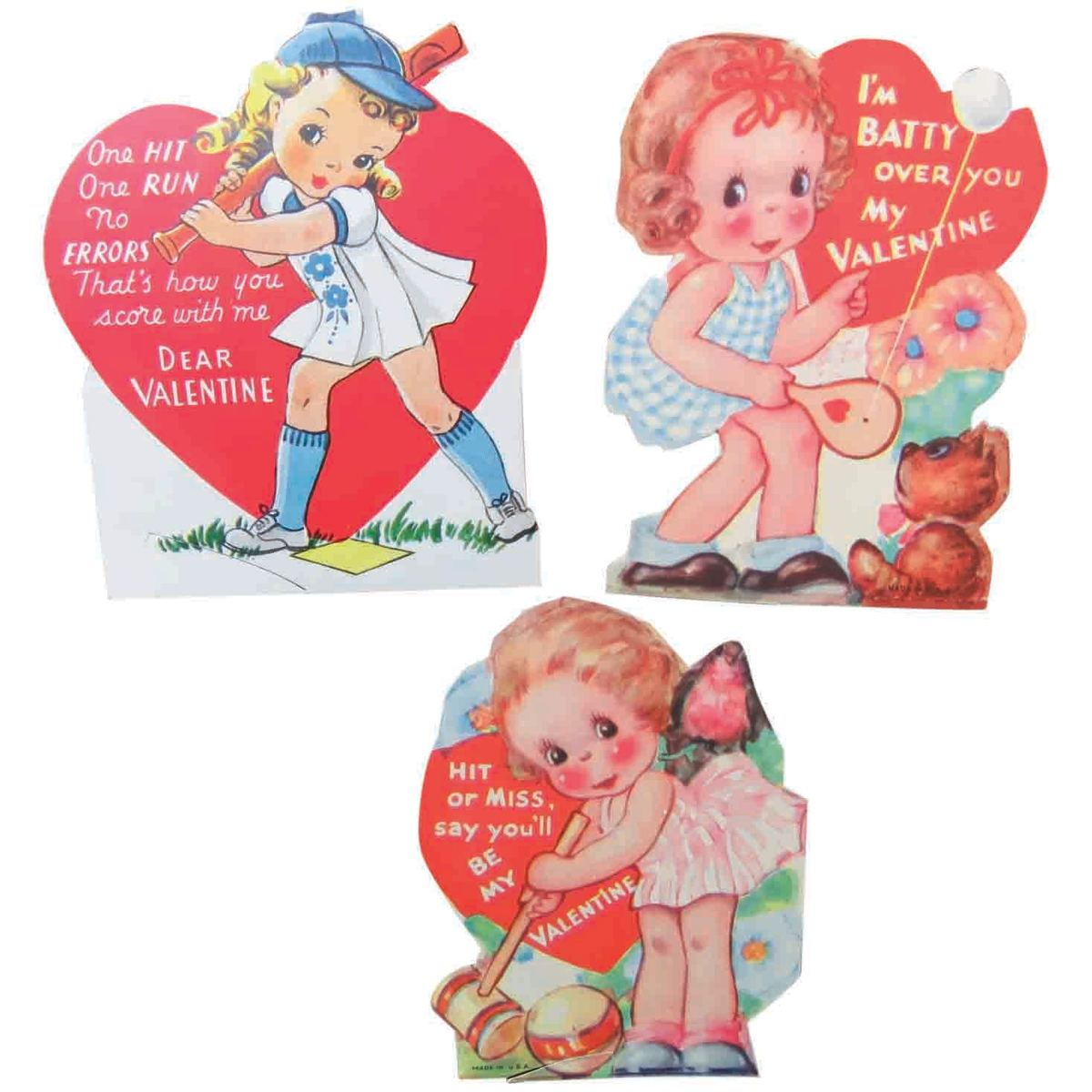 "Sports ""women"" valentines from the Classroom Valentine Box usually handed out by the teacher. Hopefully each child got one from their classmates. These date from the mid-1940s and are all of girls playing sports. The baseball girl, the croquet cutie, and the little one with a paddle and rubber ball; $12."